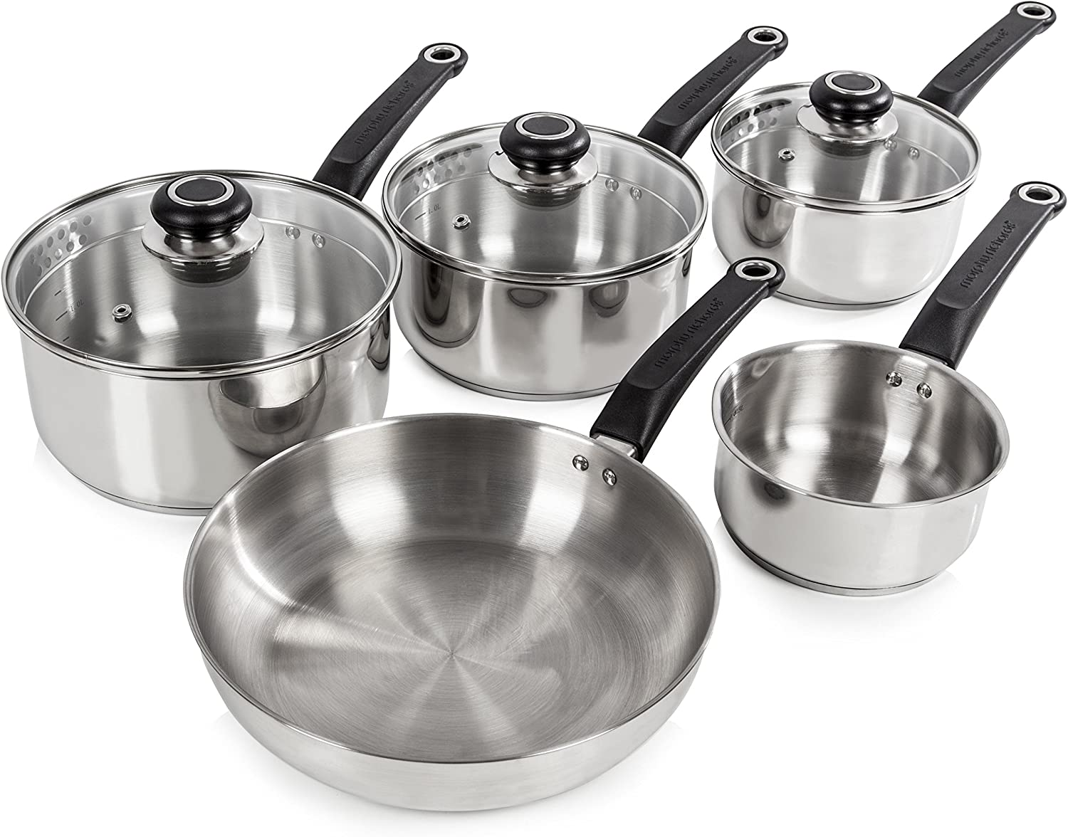 Morphy Richards Frying Pan and Saucepan Set With Lids, Stay Cool Handles,  Themocore Technology, Stainless Steel Pan Set, 9 Piece