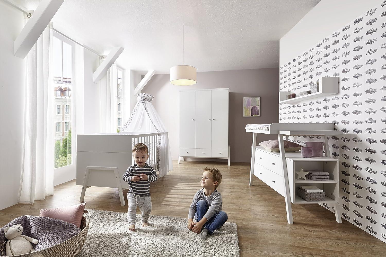 Babyzimmer Komplettset Kinderzimmer HOLLY in Weißszlig; 4-teiliges Komplett Set Jugendhimmer brandneue Kollektion mit Kleiderschrank, Wickelkommode und Kombi-Kinderbett