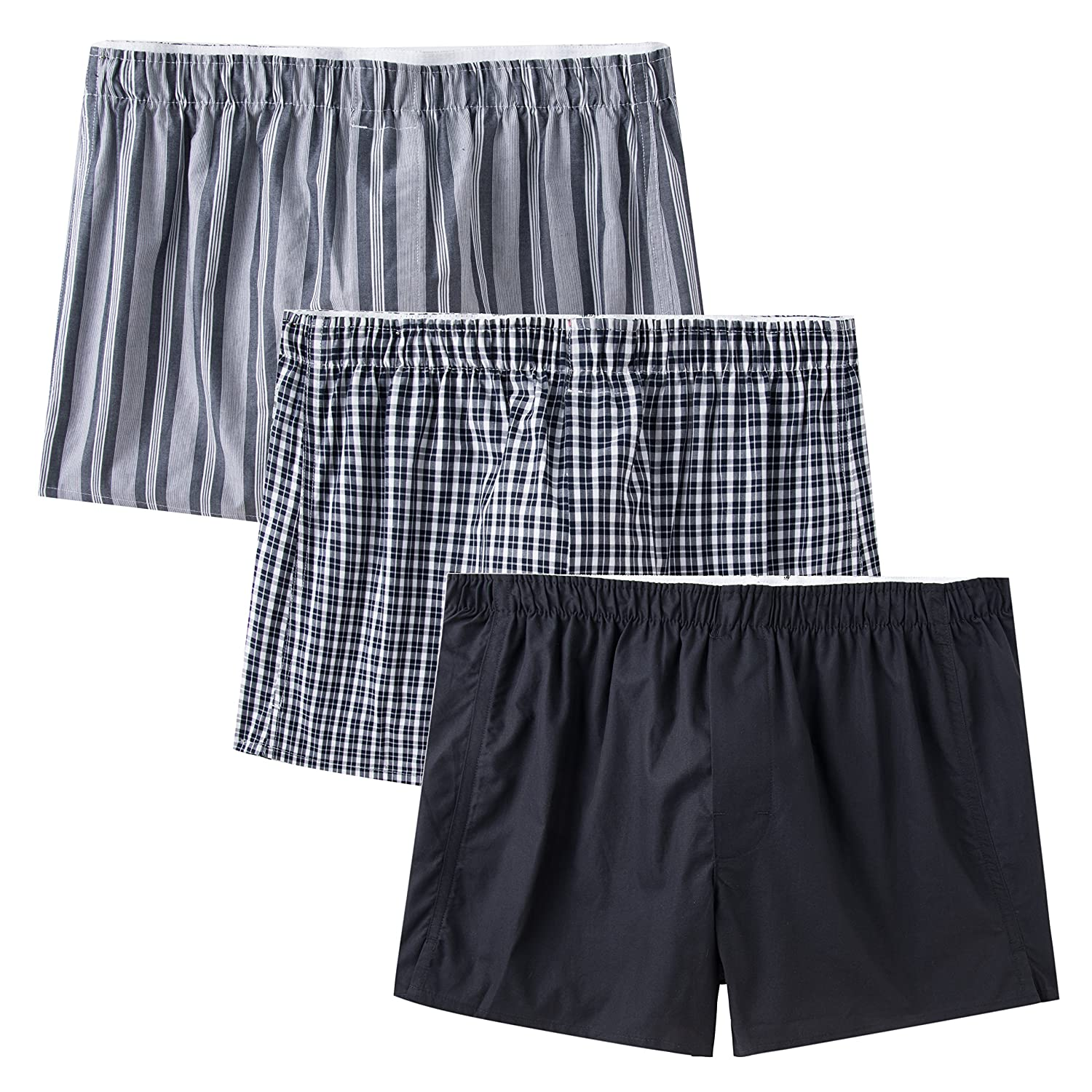 CYZ Men's 100% Cotton Premium Classic Woven Boxers 3 Packs