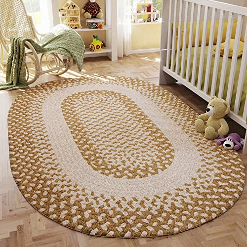 Super Area Rugs, Gentle Kids Braided Rug Soft Carpet for Nursery Ivory Beige, 3 x 5 Oval