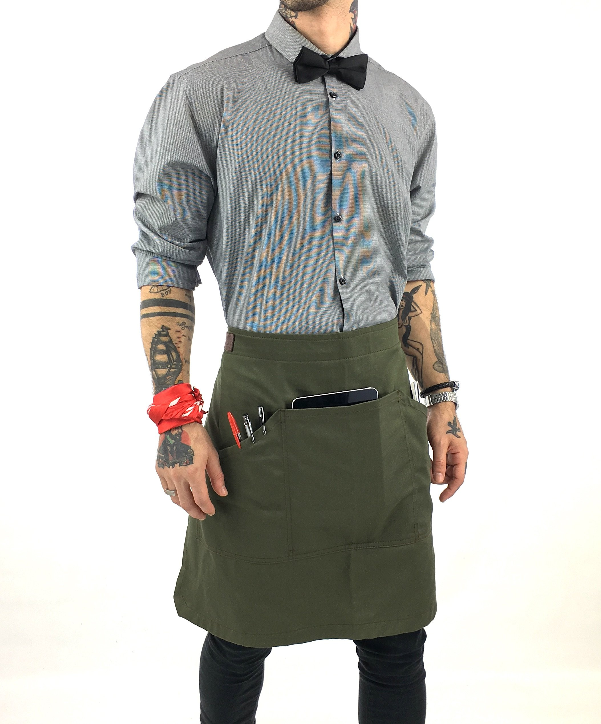 Under NY Sky Half Army Green Apron with Durable Twill – Bistro Apron, Waist Apron adjustable for Men and Women – Professional Barista, Bartender, Mixologist, Florist, Server Aprons