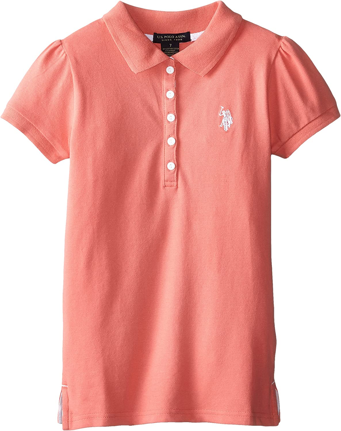 US Polo Association Big Girls Puff Sleeve Pique Polo Shirt, Shell ...