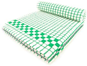 Fecido Classic Kitchen Dish Towels with Hanging Loop - Heavy Duty Absorbent Dish Clothes - European Made 100% Cotton Tea Towels - et of Two, Light Green