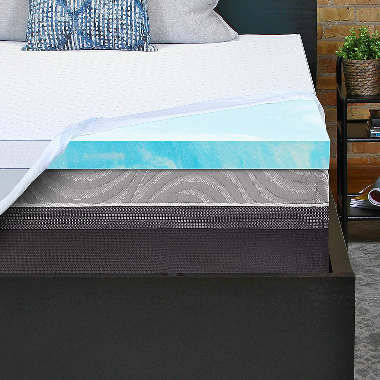 Dreamfoam Bedding Slumber Essentials 4-Piece Bundle Pack- Includes a 2 Gel Swirl Mattress Topper, 1 Mattress Protector, 1 Queen Shredded Foam Pillow and 1 Microfiber Sheet Set, Blue Mist- Twin