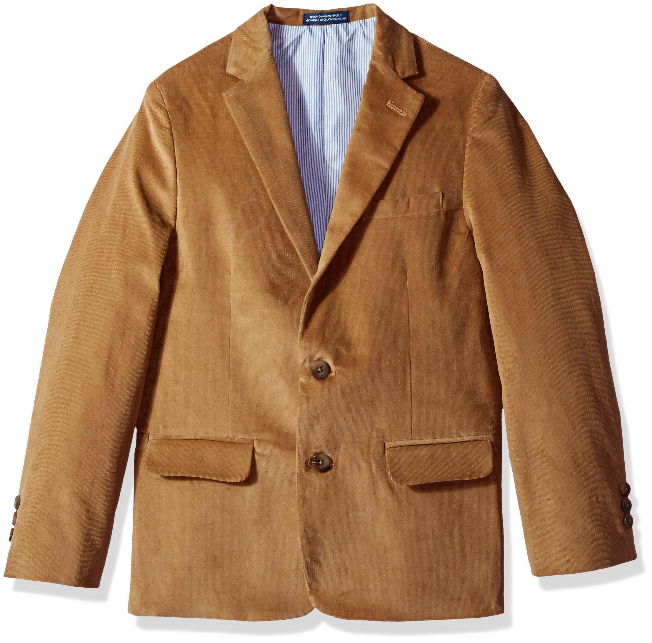 IZOD Big Boys' Blazer Suit Jacket, Brown Corduroy, 8