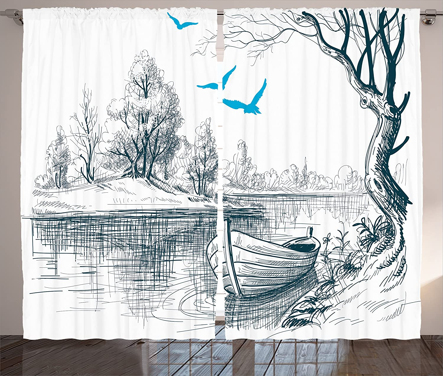 Ambesonne Lake House Decor Curtains, Boat on Calm River Trees Birds Twigs Sketch Drawing Clipart Water Minimalistic, Living Room Bedroom Decor, 2 Panel Set, 108 W X 90 L inches, Petrol Blue White