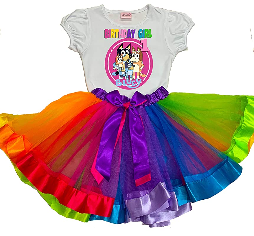 Bluey Bandit Tutu 5th Birthday Dress Name Personalized Outfit Custom Family Matching Shirt Age Name Baby Girl 1st,2nd,3rd,4th,5th,6th,7th.