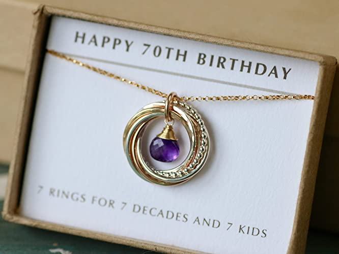 70th Birthday Gift For Mom February Her Amethyst Necklace