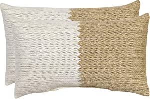 Decor Therapy 7630-01273037 Outdoor Lumbar Pillow, Sour Cream