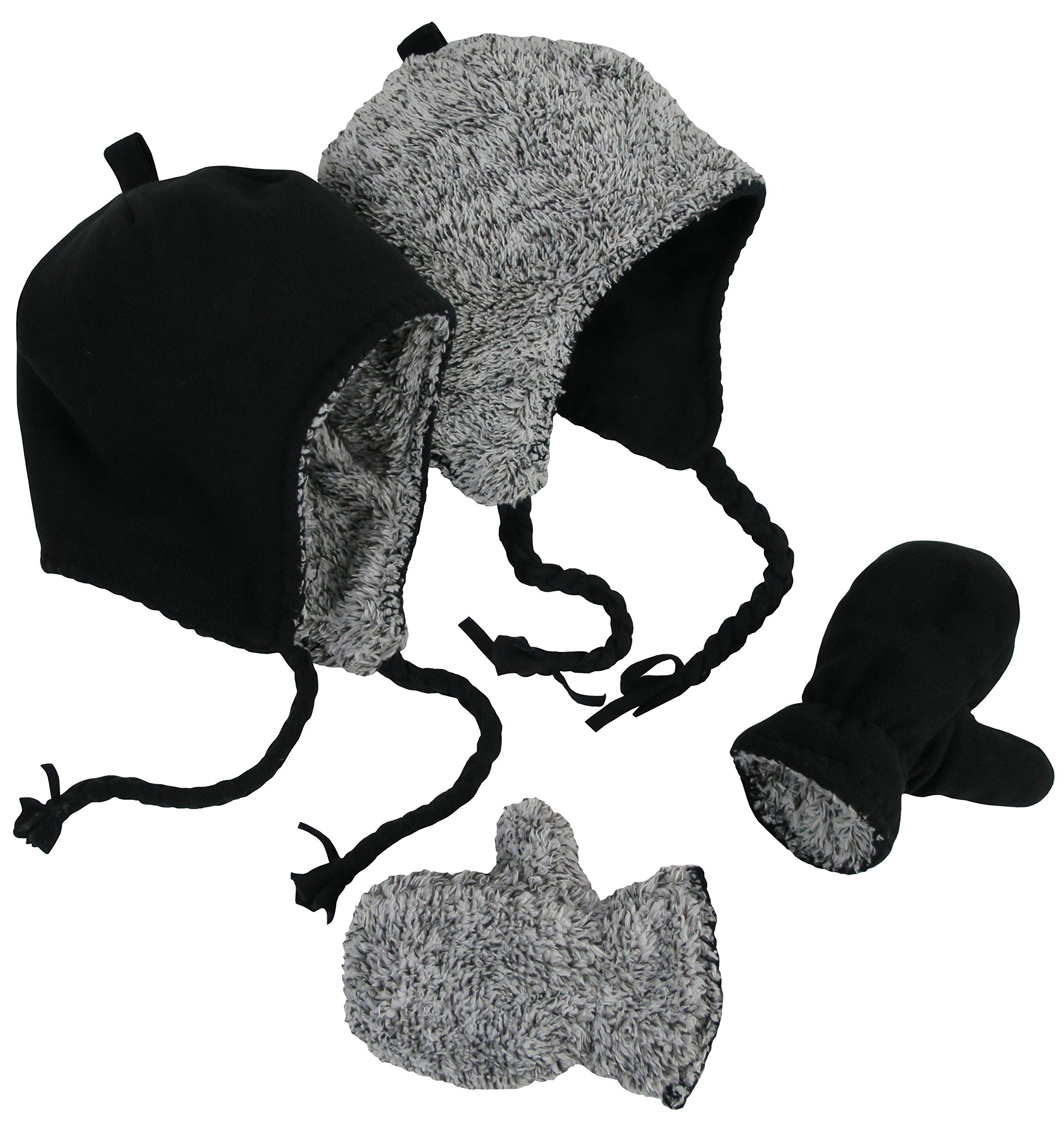 N'Ice Caps Little Kids and Infants Reversible Hat and Mittens Fleece Skater Set (2-3 Years, Black Solid/Black-White Sherpa)