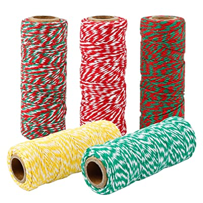 Maosifang 5 Rolls Christmas Twine Cotton String Gift Wrapping Cords Baker Twines for Gift Wrapping Christmas Decoration Supplies Art, 5 Colors : Office Products