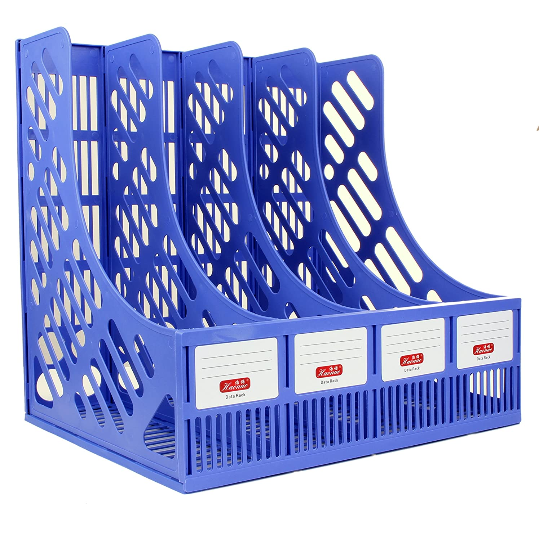 Allsquare professionale plastica porta documenti portariviste in rete, organizer per documenti di carta, 4carta–verticale/verticale scomparti Blue
