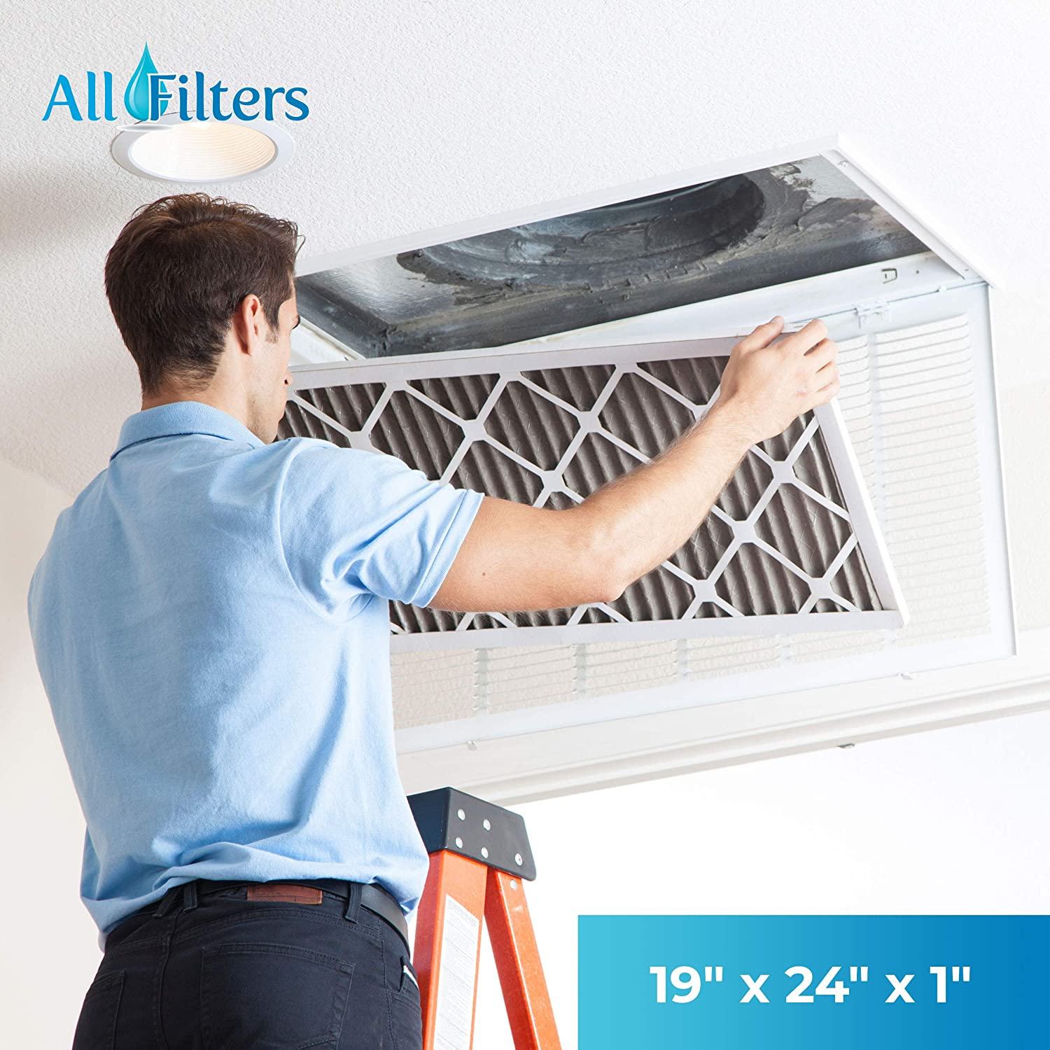 Synthetic Wire-Backed Pleated Air Filter 20 Nom Height x 24 Nom Width x 2 Nom Depth Made in USA 7 Pack