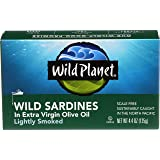 Wild Planet Wild Sardines in Extra Virgin Olive Oil, Lightly Smoked – 4.4oz Can (Pack of 12)