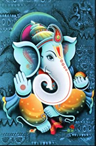 DMT ' Lord Ganesha Religious ' High Contrast HD Printed Picture Framed Wall Art Paintings for Home Decor (Multicolour, 24 x 16 inch)