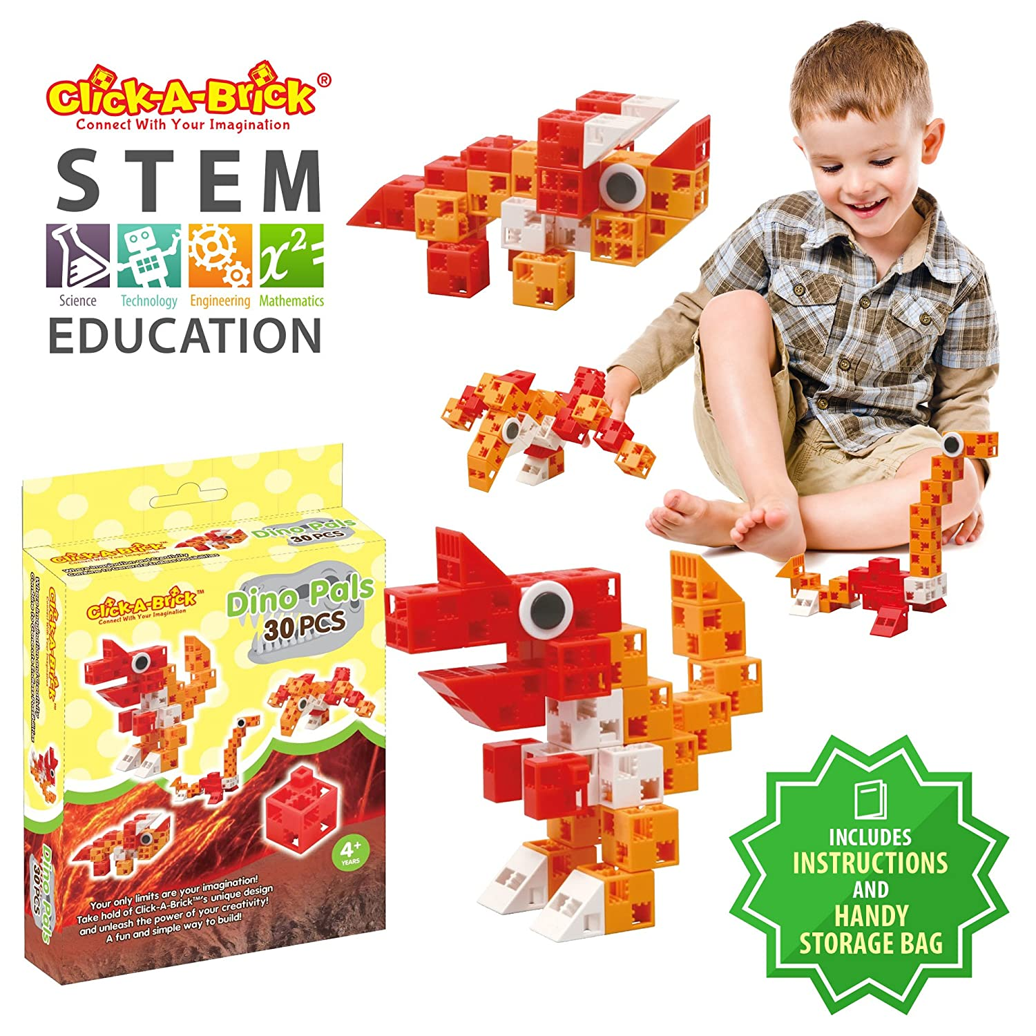 Best STEM Toys for Boys /& Girls Age 4 5 6 Year Old Click-A-Brick Dino Pals 30pc Building Blocks Set Fun Kids 3D Construction Puzzle Top Educational Learning Gift for Children Ages 4-10