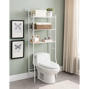 White Metal 3-shelf Bathroom Space Saver Storage Organizer Over the Rack Toilet Cabinet Shelving Towel Rack with Circle Design