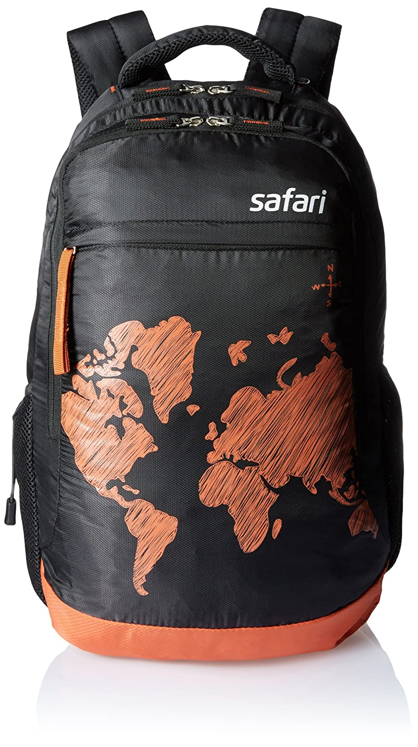 Safari Polyester 35 Ltrs Black Laptop Backpack (WorldMap)