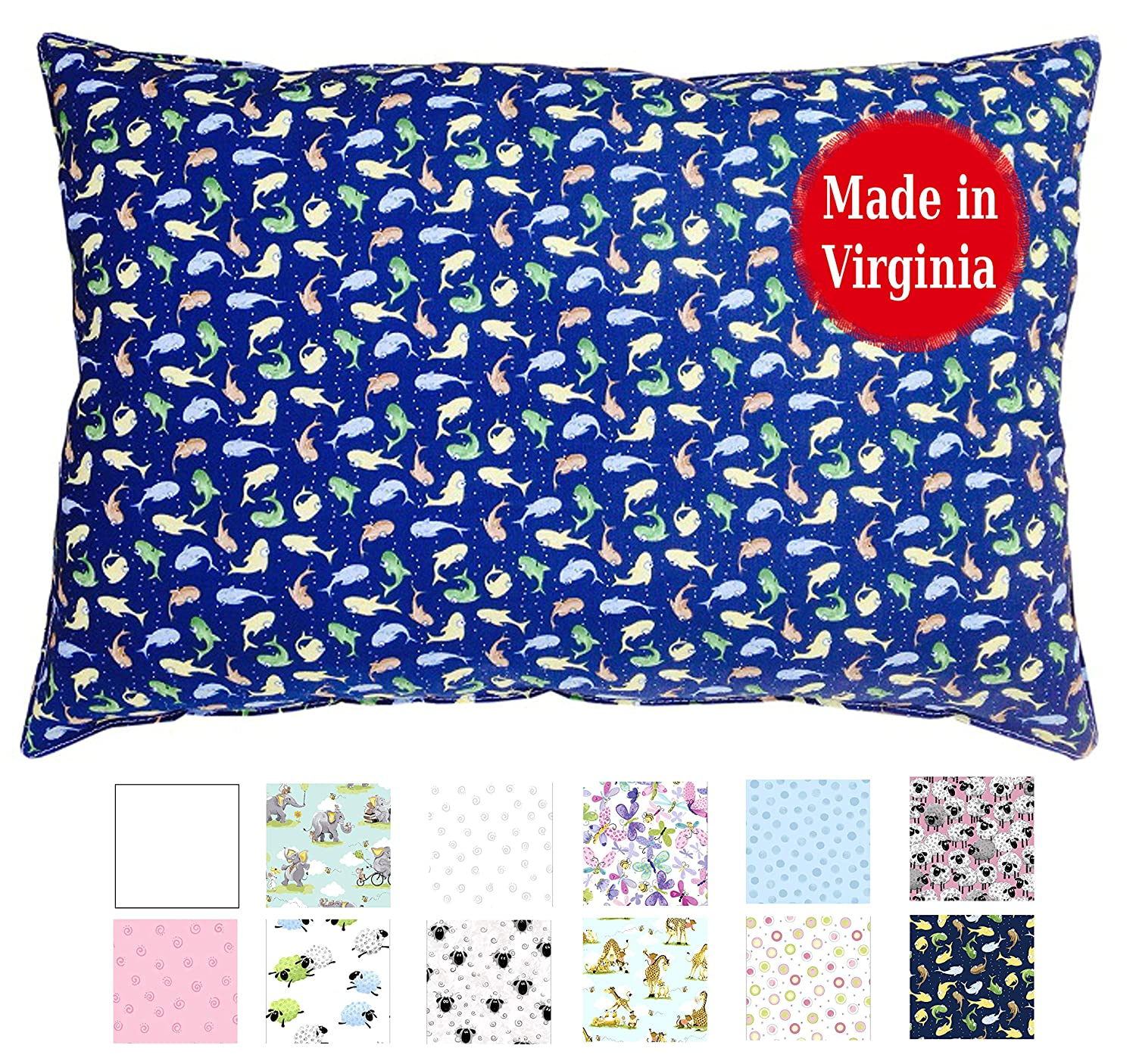 Envelope Style Elephants Made in Virginia by A Little Pillow Company 100/% Cotton Percale Fits 13x18 Pillows Toddler Pillowcase Cute Designs