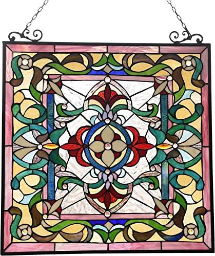 RADIANCE goods Tiffany-Style Victorian Design Window Panel 24 x 25