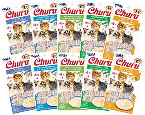 INABA Churu Lickable Creamy Pur e Cat Treats 5 Flavor Variety Pack of 40 Tubes