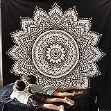 """Esclusivo """"nero bianco ombre Tapestry by Raajsee"""" ombre biancheria da letto, motivo: Mandala, regina, multi colori indiana mandala Wall Art hippie Wall Hanging Bohemian copriletto, Cotone, Black, 140*220cms"""