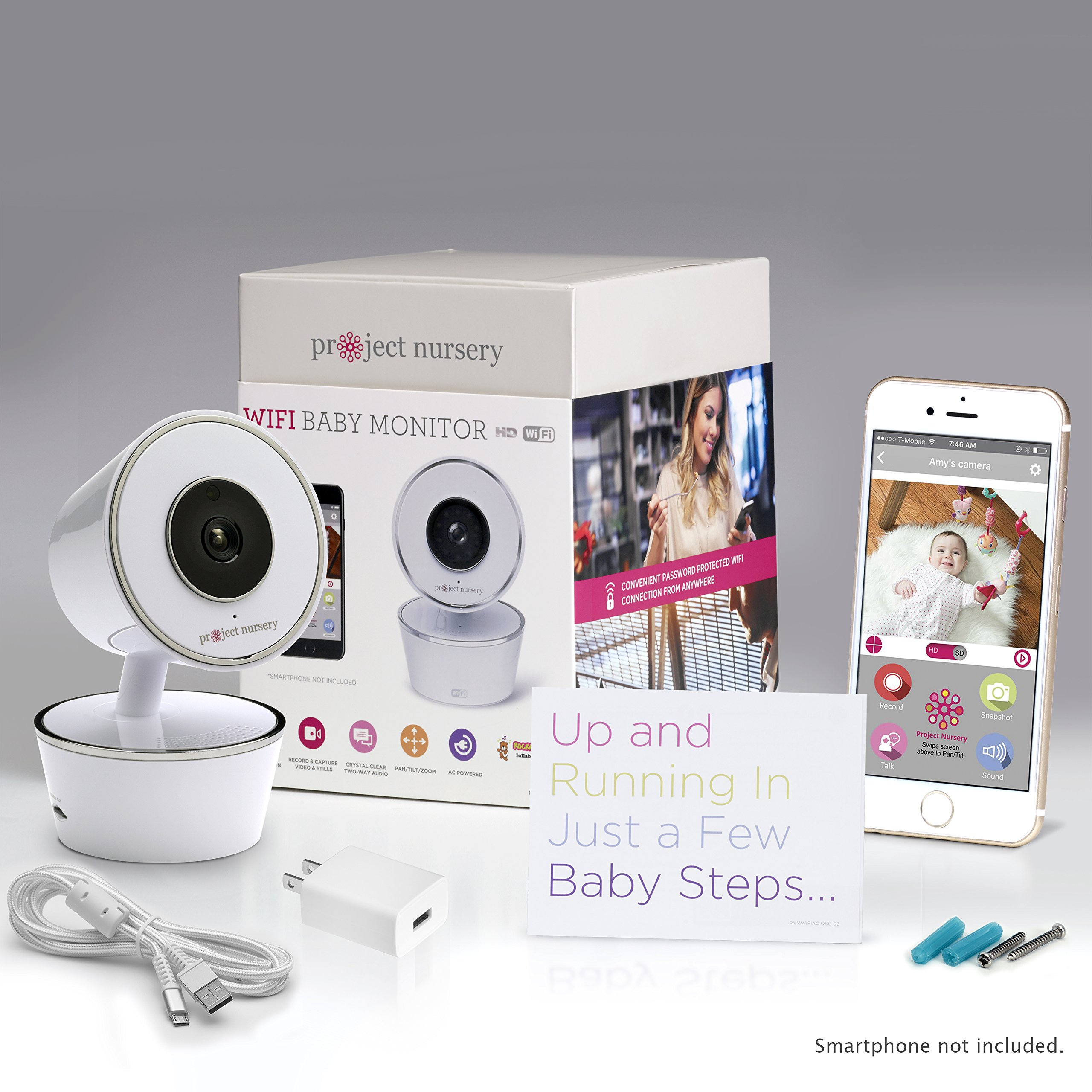 Project Nursery HD WiFi Video Baby Monitor System with Sound, Motion & Temperature Alerts & an App for iOS, Android and Any Smartphone or Tablet by Project Nursery (Image #2)