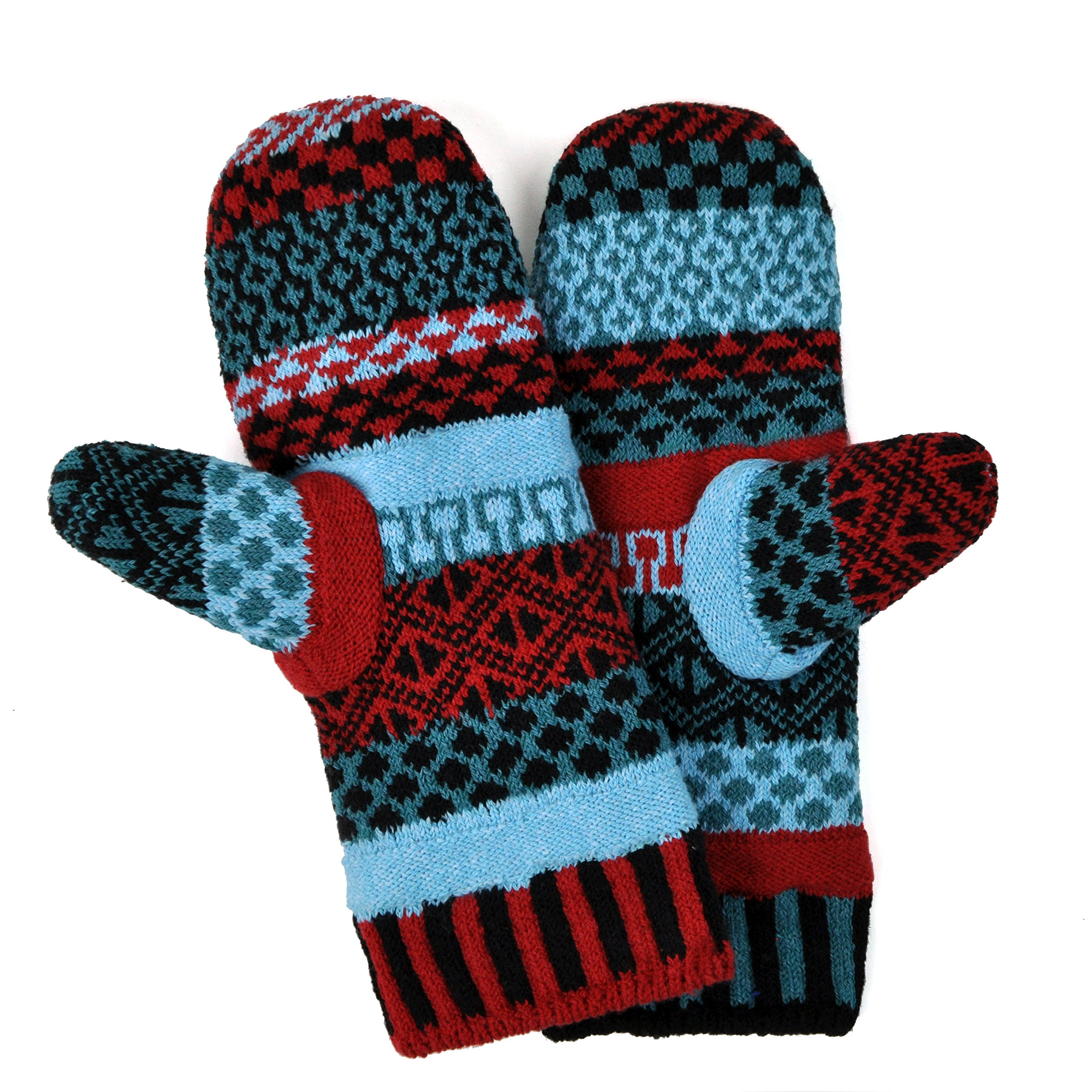 Solmate Brand USA Made Mismatched Fleece Lined Mittens, Mars