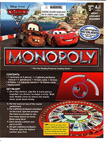 Amazon Cars 2 Monopoly Replacement Pieces Instructions Toys
