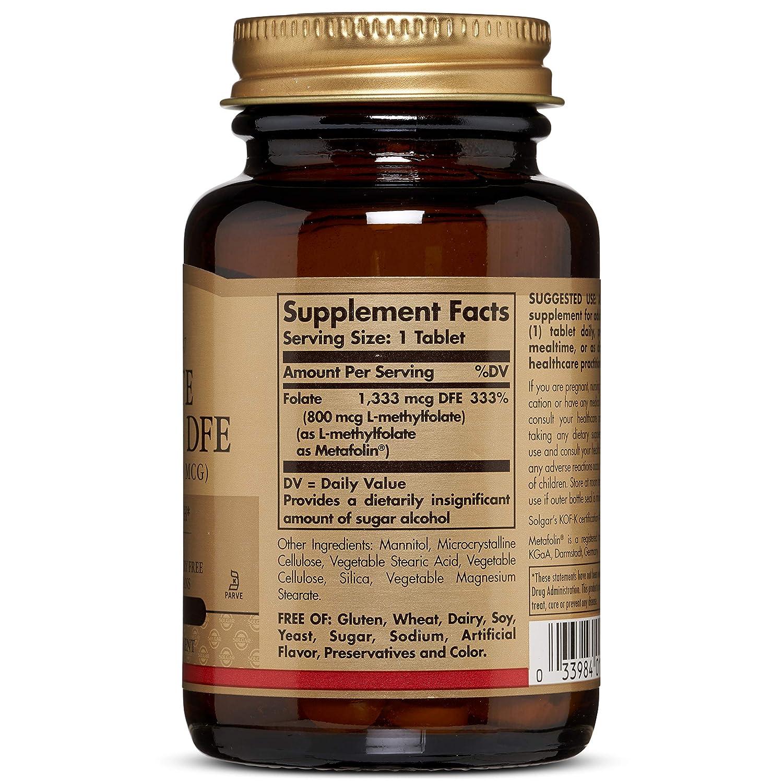 Amazon.com: Solgar ácido fólico 800 mcg (como Metafolin ...