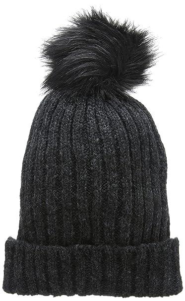 597bd16196bbf6 PIECES Damen Strickmütze Pcvaren Hood Noos, Grau (Dark Grey Melange),  Einheitsgröße