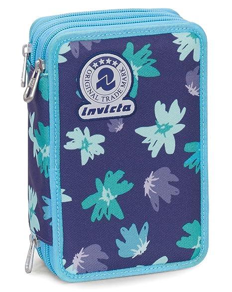 10aa91c8d8 Astuccio 3 Zip Invicta , PAINTED DAISES , Blu ,Con contenuto: matite,  pennarelli