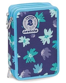 Estuche 3 Cremalleras Invicta , Painted Daises , Azul ...
