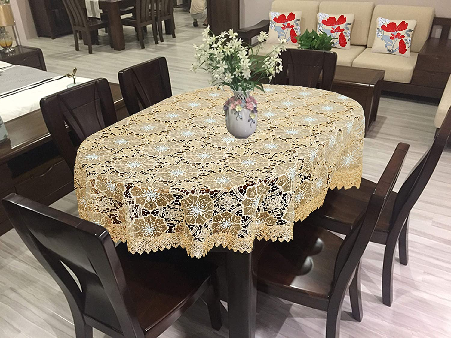 Simhomsen Beige Embroidered Lace Tablecloth 54 /× 72 Inch Oval 10127-1
