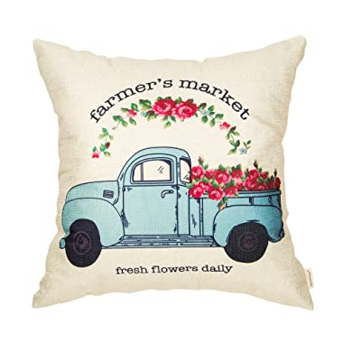 Fahrendom Farmer's Market Fresh Flowers Daily Vintage Truck Watercolor Floral Retro Farmhouse Quote Cotton Linen Home Decorative Throw Pillow Case Cushion Cover with Words for Sofa Couch 18 x 18 Inch