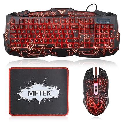 Gaming Teclado y Ratón Set MFTEK 3 colores luminoso QWERTY US Layout Teclado con 7 profesional