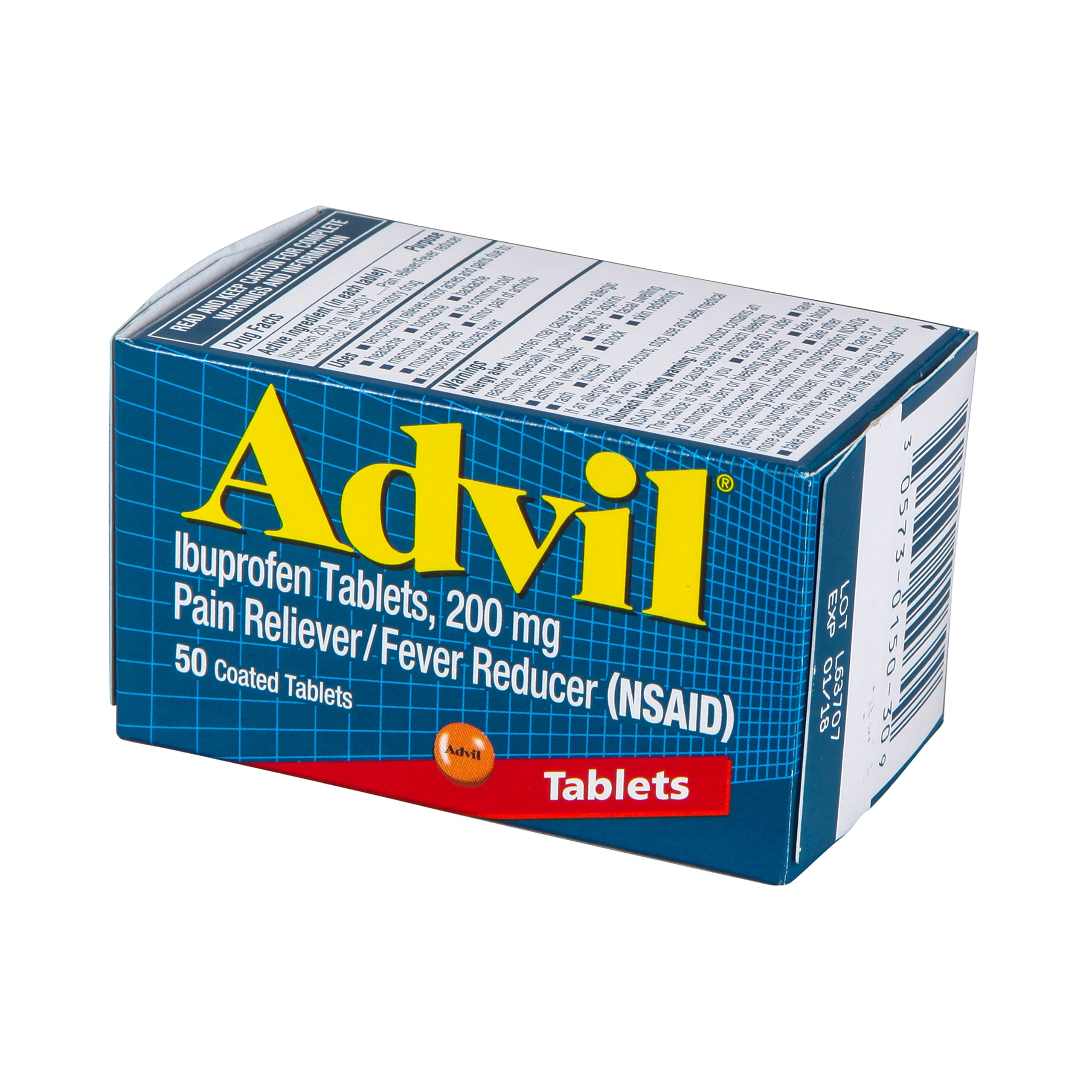Advil Pain Reliever/Fever Reducer, 200 mg, 50 Coated Tablets.