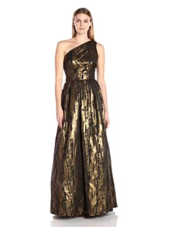 Amazon.com: JS Collection Women\'s One Shoulder Brocade Gown: Clothing