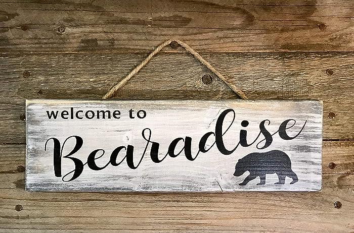 Amazon com: WELCOME TO BEARADISE - Handmade Rustic Wood Sign