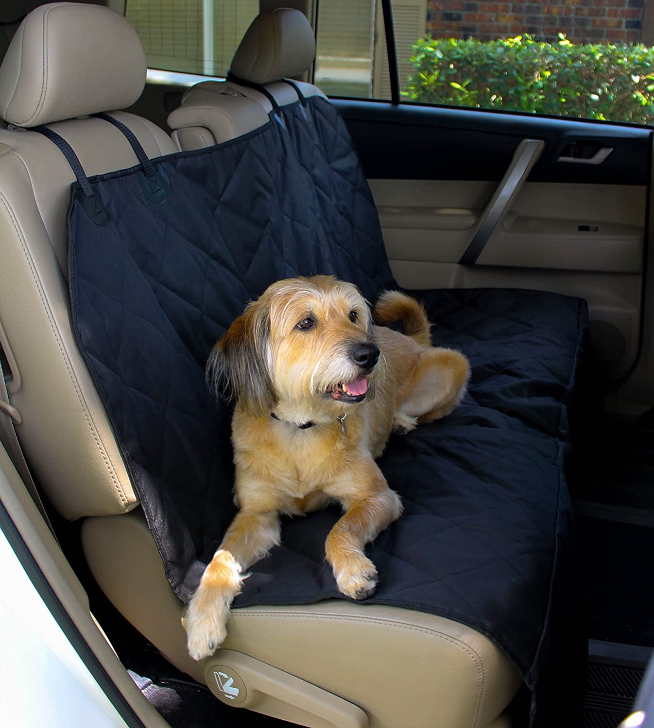 amazoncom pet seat cover for cars easy to clean quilted waterproof material velcro seat belt openings non slip silicone backing and seat anchors