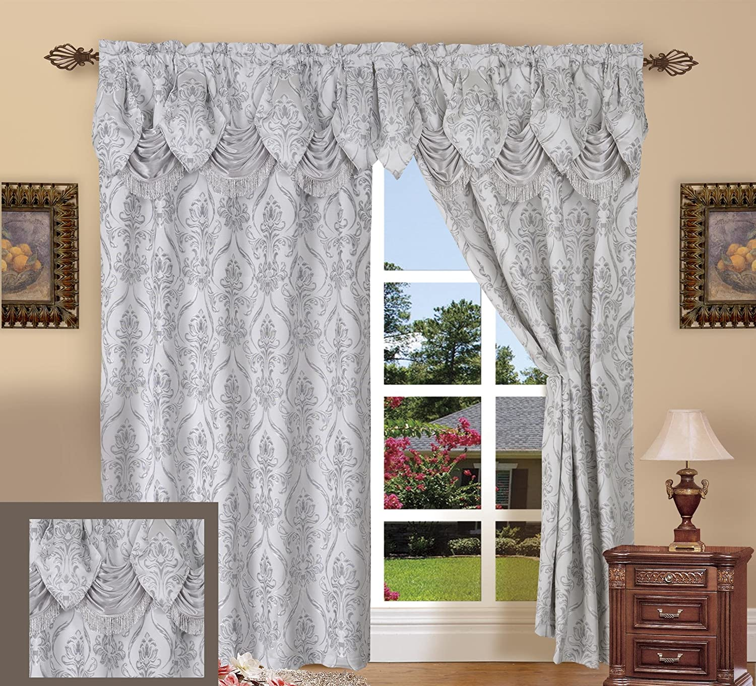 Elegance Linen Luxury Jacquard Curtain Panel Set with Attached Valance Set of 2 Silver
