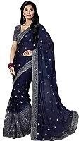 M.S. Retail Women's Chiffon Saree With Blouse Piece (Ac-International_1,Dark Blue,Free Size)