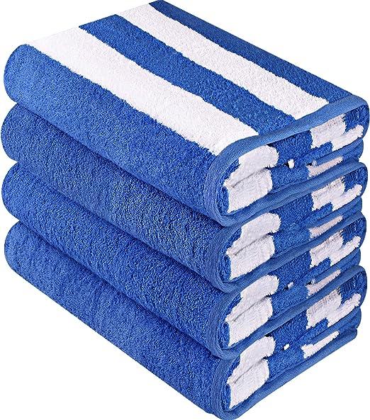 Toallas de playa Cabana de calidad superior Utopia Towels 76 x 152 cm Paquete de 4 toallas de piscina Cabana Stripe - Toallas de uso m/últiple con alta absorbencia