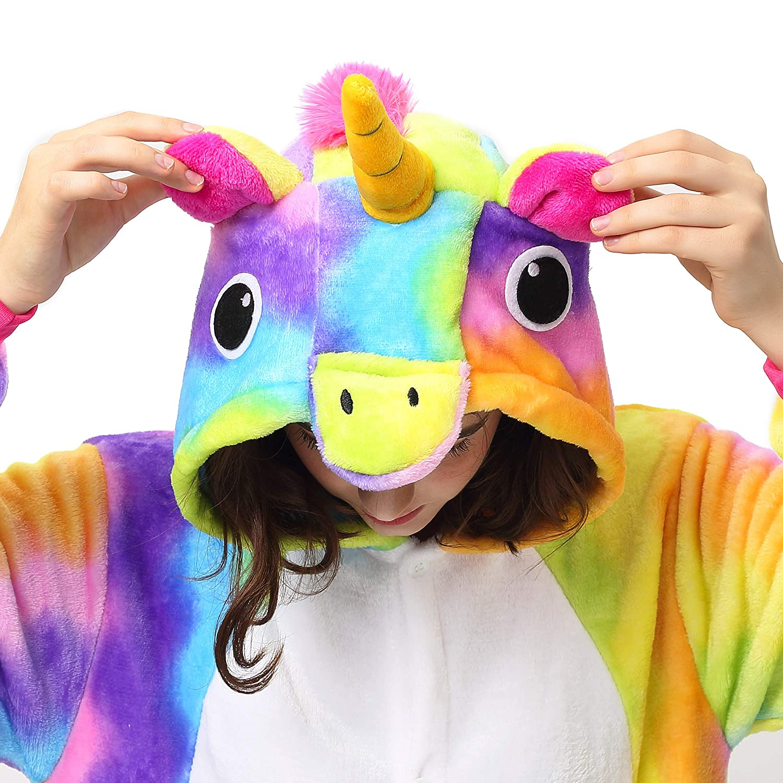 Katara 1744 Kigurumi Unisex Adulti Costume Animale Pigiama intero Carnevale 145-155cm Unicorno Arcobaleno