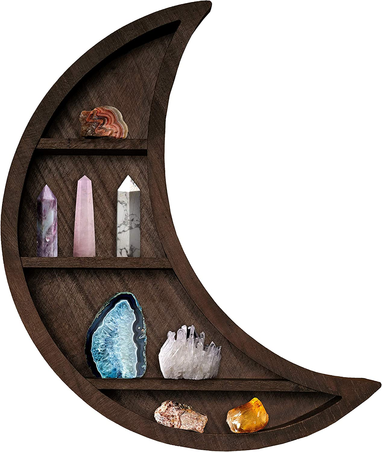 Wooden Crescent Moon Shelf for Crystals - Crystal Shelf Display Moon Wall Decor - 4 Tier Wall Mounted Floating Shelves - Wall Storage Shelves for Bedroom Living Room Bathroom Kitchen