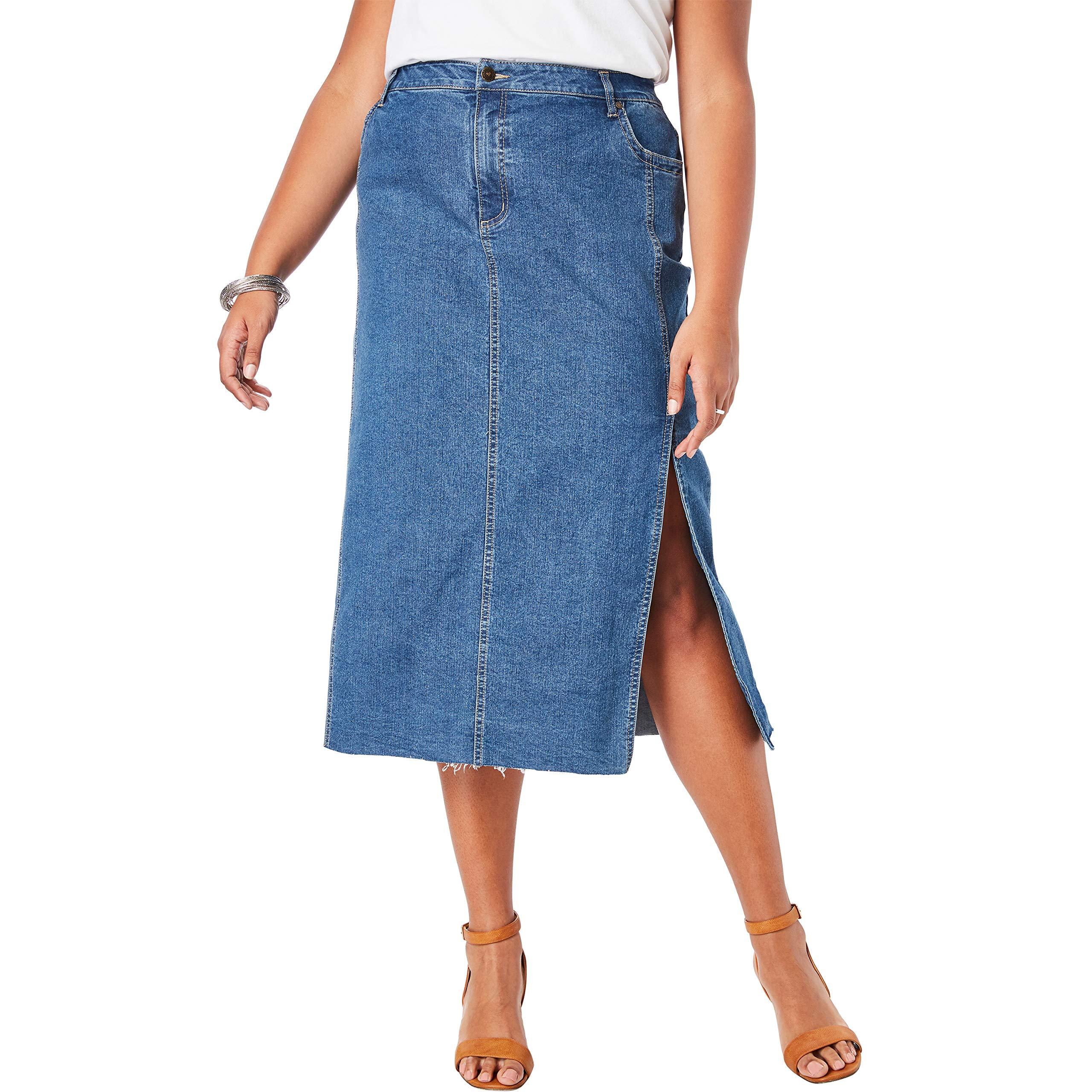 Roamans Women's Plus Size Midi Jean Skirt - Medium Wash, 18 W by Roamans