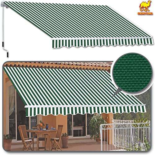 Strong Camel 10 x 8 Manual Yard Retractable Patio Deck Awning Cover, Canopy Sunshade Green with White