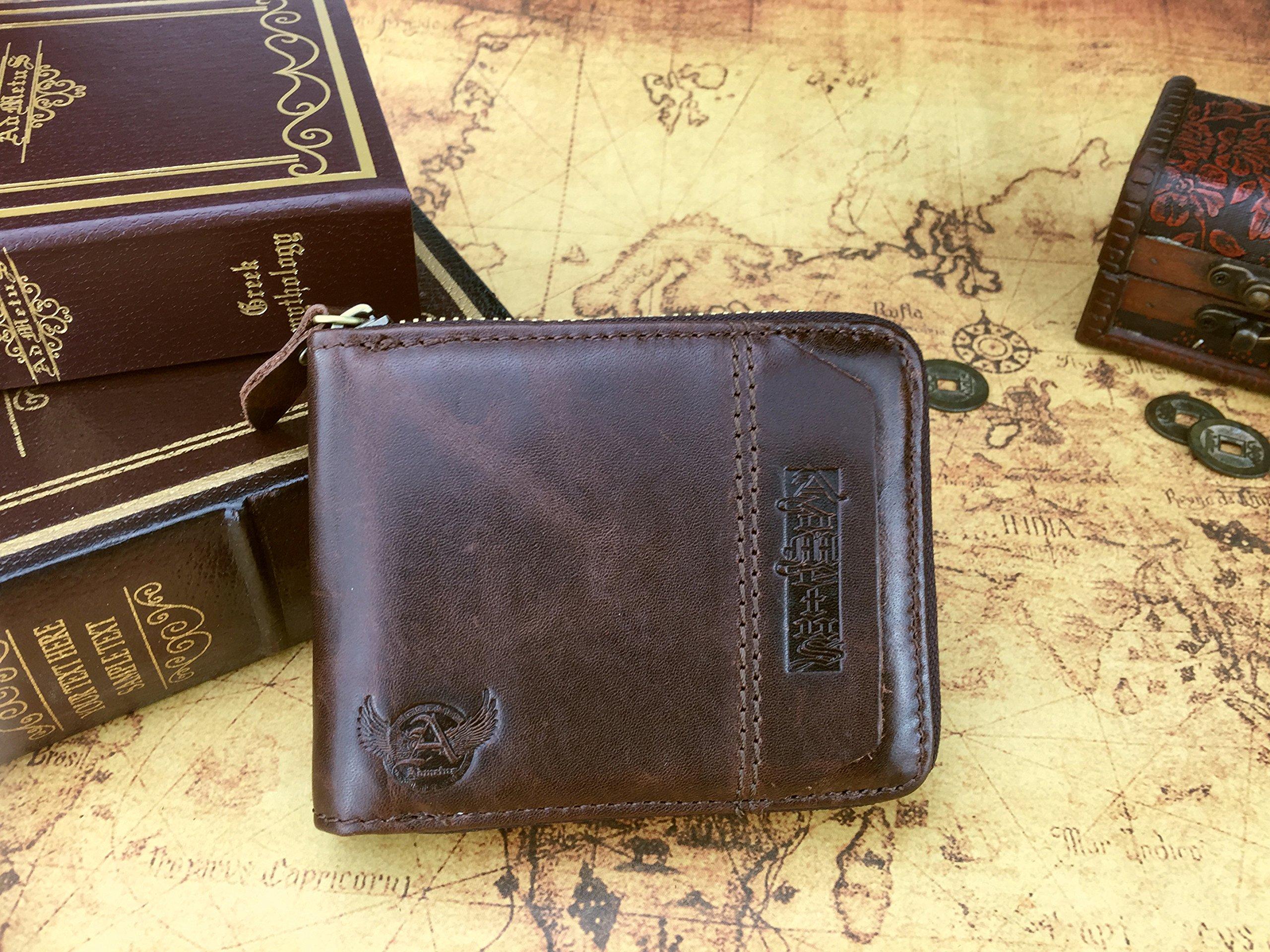 Admetus Men's Genuine Leather Short Zip-around Bifold Wallet (brown) by Admetus (Image #5)