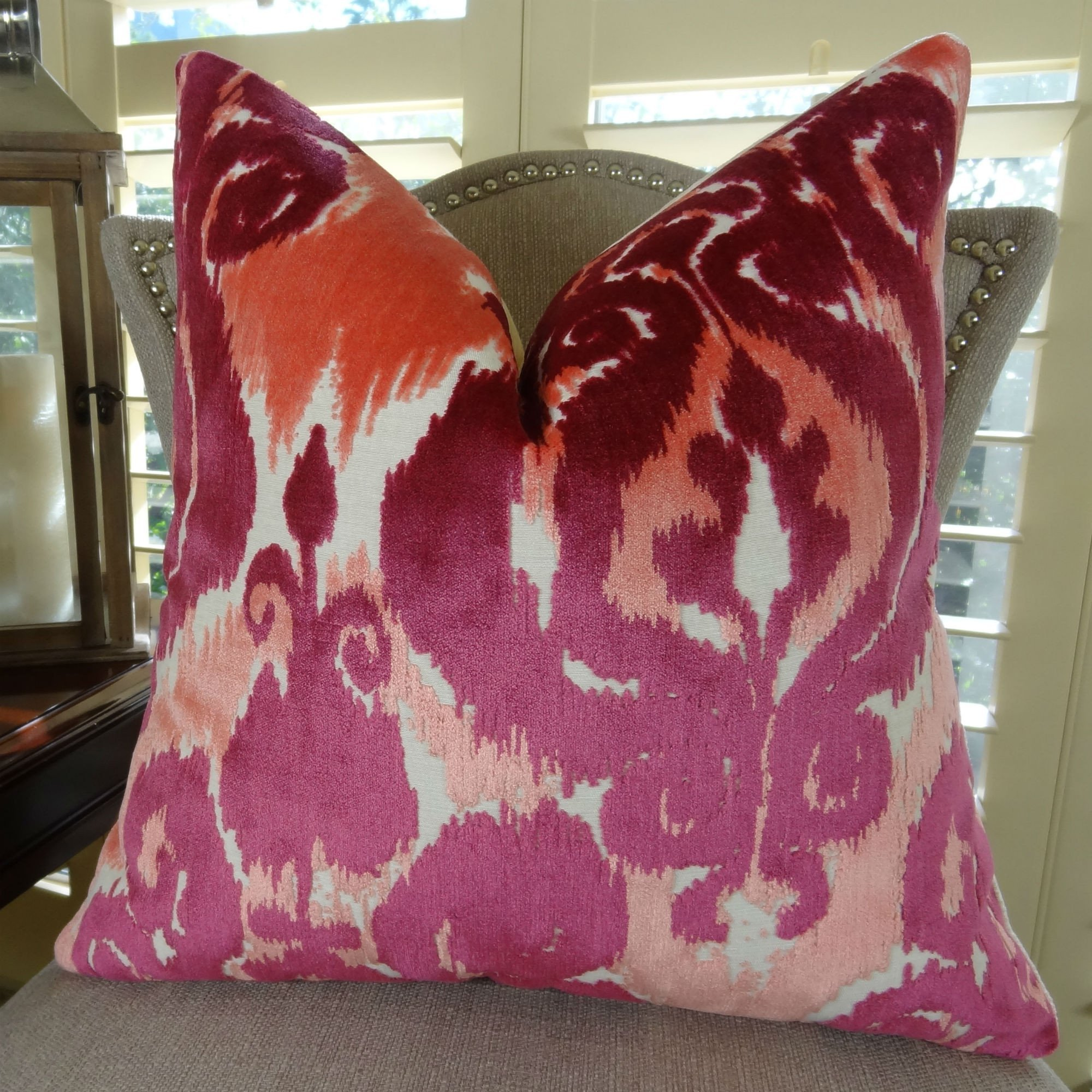 Thomas Collection fuchsia throw pillow, velvet couch pillows, Fuchsia Luxury Throw Pillow, Coral Velvet Designer Decorative Pillow, COVER ONLY, NO INSERT, Made in America, 11366