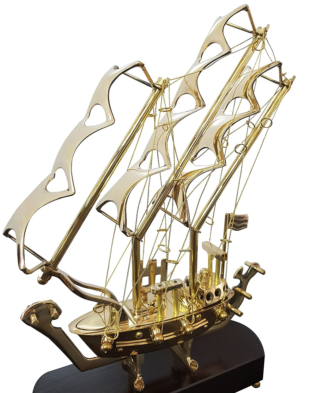 Authentic Decorative Brass Vintage Marine Table Decoratine Ship with Wooden Base Marine Handmade Nautical Article Unique Collection collectiblesBuy ZMP3184